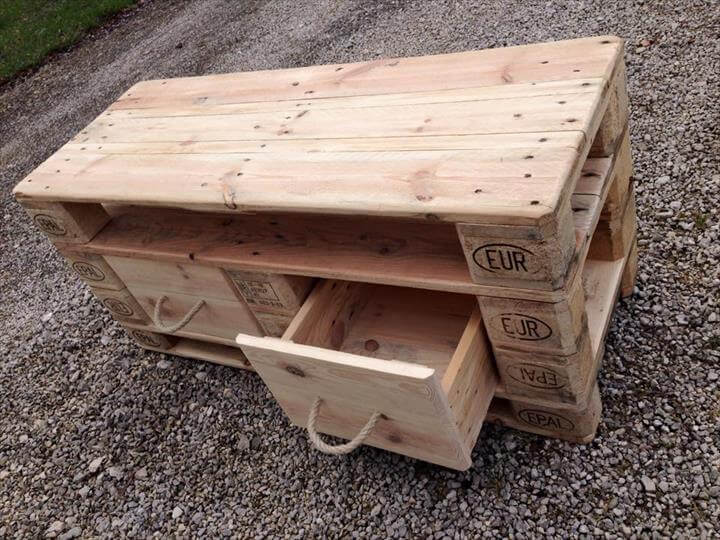 recycled pallet media stand with two drawers
