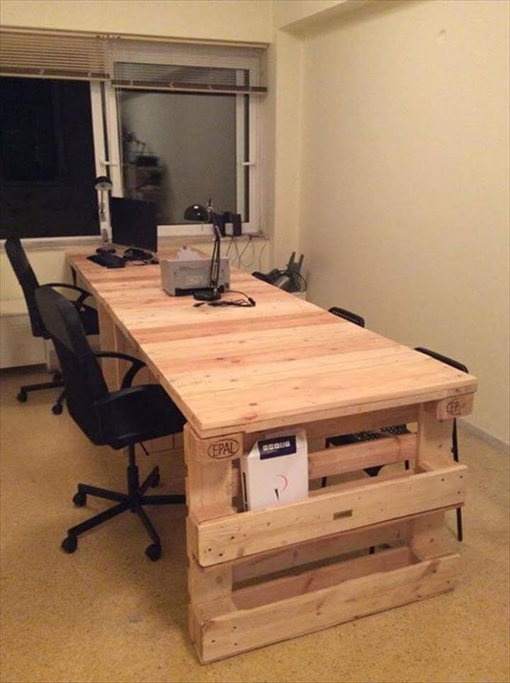 Wood pallet office computer desk 99 pallets for Desk ideas