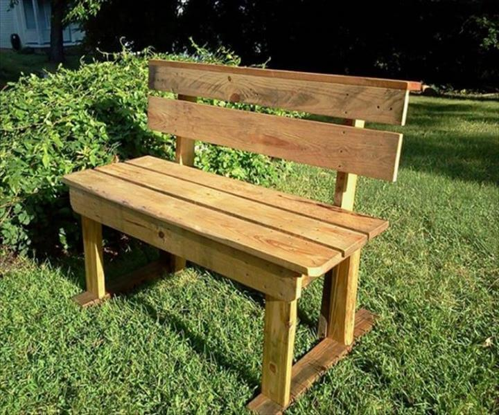 handmade garden pallet bench with backrest
