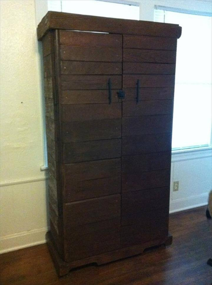 recycled pallet stained cabinet