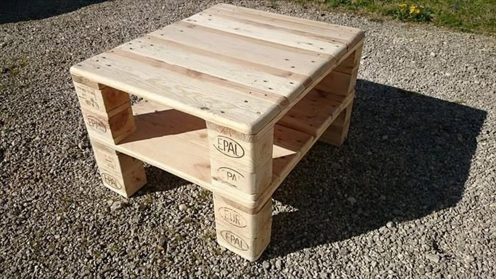 repurposed pallet media stand and coffee table
