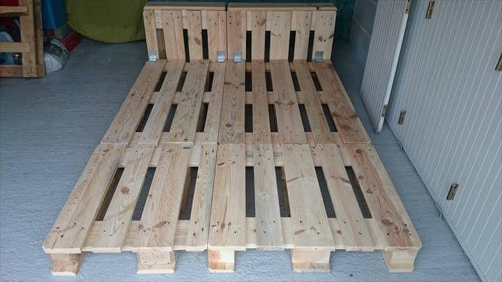 reclaimed pallet wood platform bed