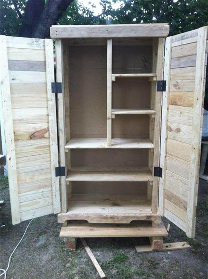 diy pallet rustic storage cabinet