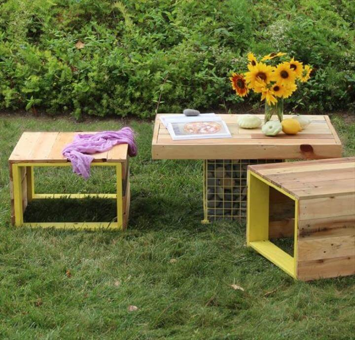 pallet benches and table with metal bases