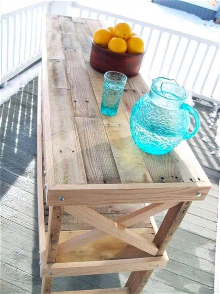 reclaimed pallet kitchen island and buffet table