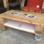 Pallet Coffee Table with  One Side Wheels