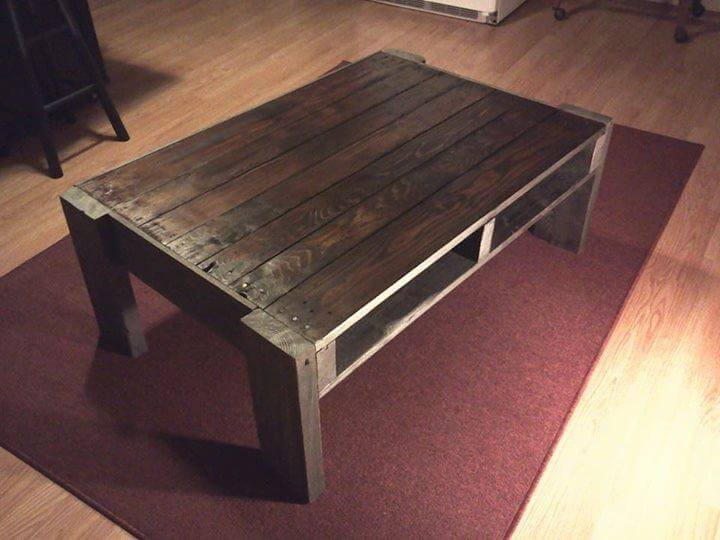 diy pallet stained coffee table with storage