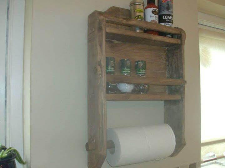 Diy Pallet Kitchen Spice Rack And Roll Holder 99 Pallets