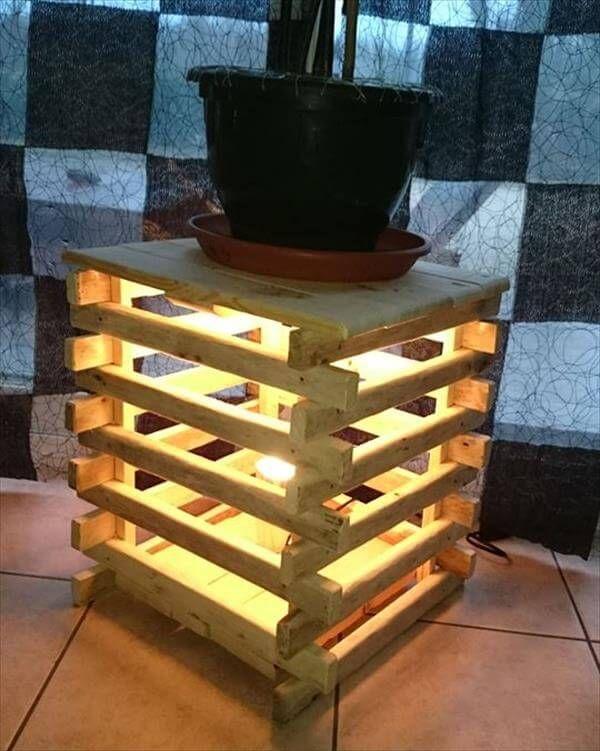 Pallet Lighted Bedside Table Stool 99 Pallets
