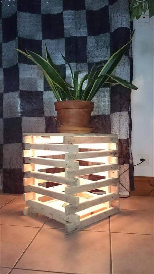 Stool Bedside Table: Pallet Lighted Bedside Table, Stool