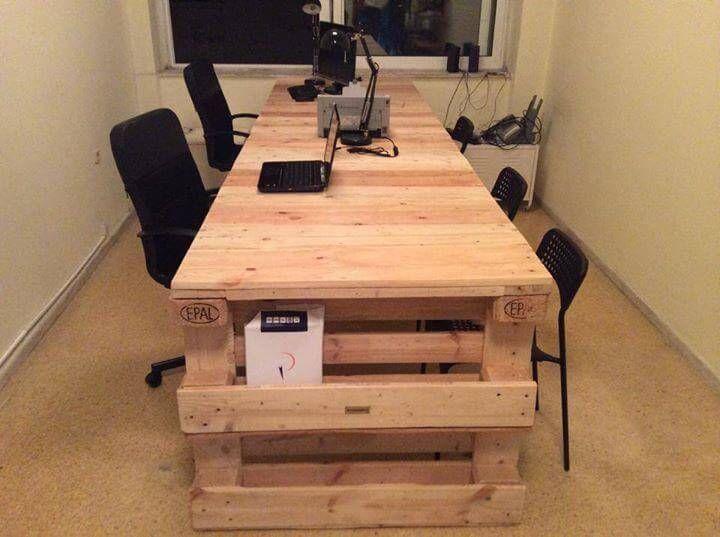 handmade wooden pallet desk with side storage