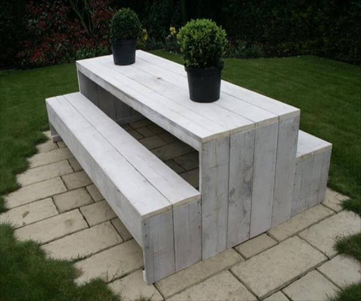 white painted x-long pallet garden bench