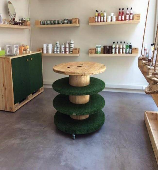 4 leveled old cable spool table with wheels