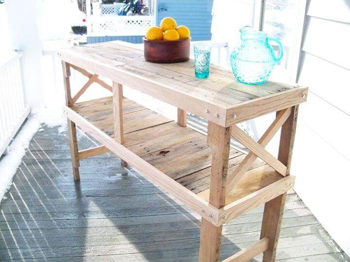 upcycled pallet kitchen island and buffet table