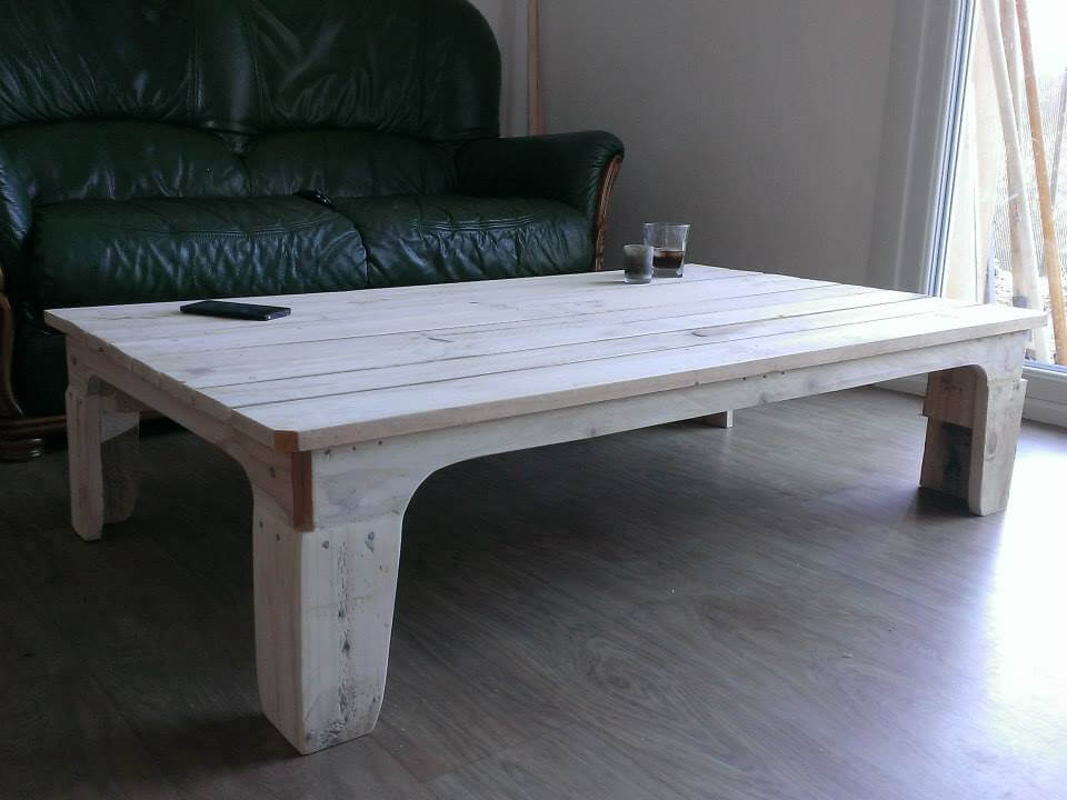 Recycled Pallet White Coffee Table