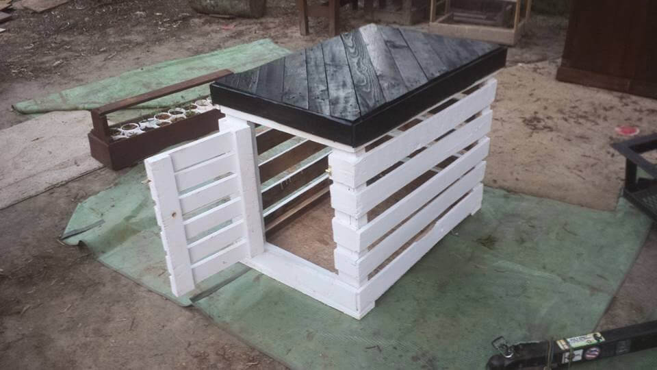 recycled pallet black and white dog kennel - Dog Kennel Design Ideas