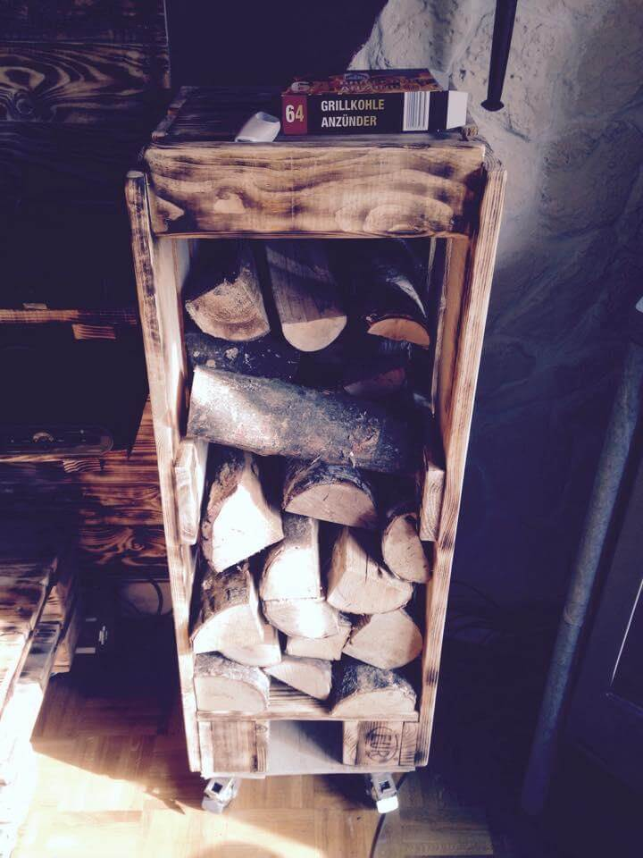 recycled pallet firewood trolley