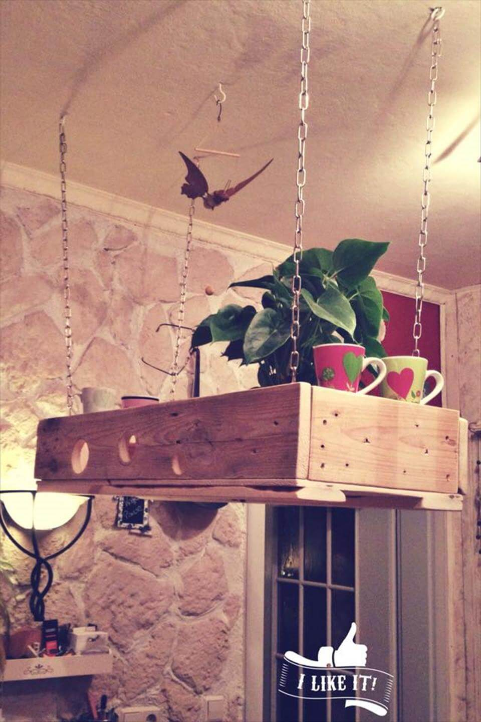 recycled pallet hanging planter