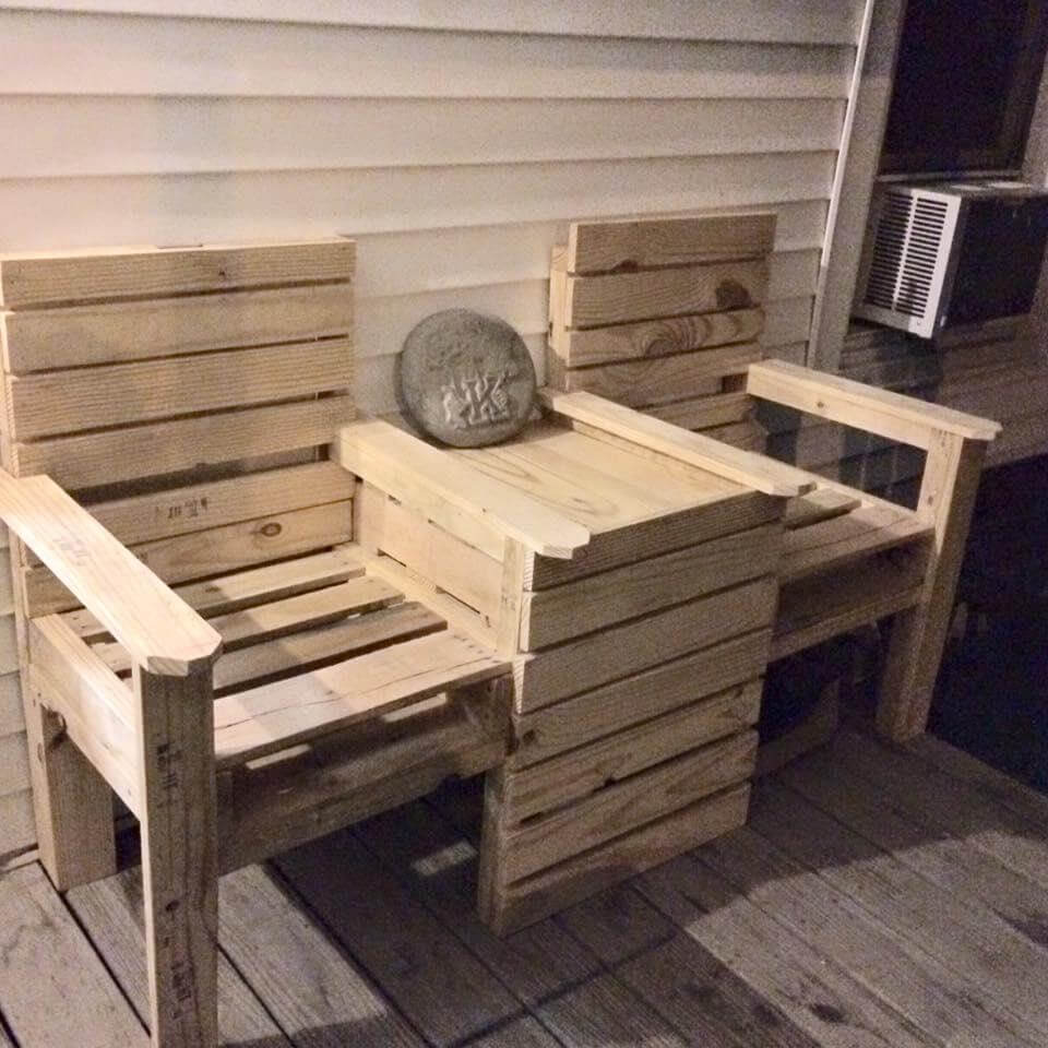 Pallet Chair: DIY Pallet Double Chair Bench
