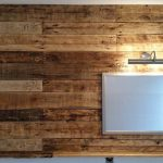 Pallet Bathroom Wall with Mirror and Shelf