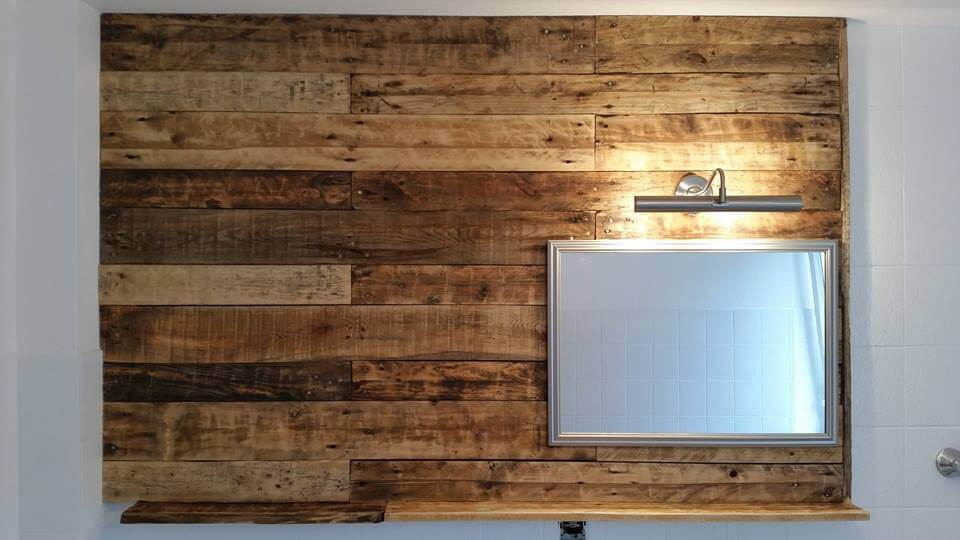 Pallet Bathroom Wall with Mirror and Shelf | 99 Pallets