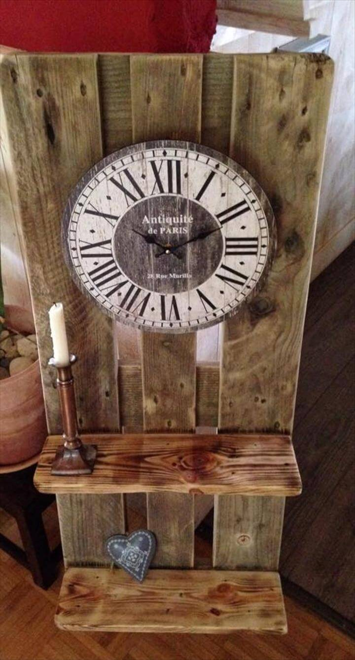 wooden pallet antique Victorian decors inspired clock