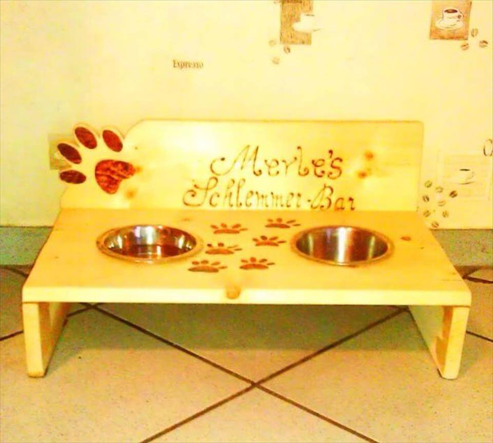 handmade painted pallet dog bowl stand