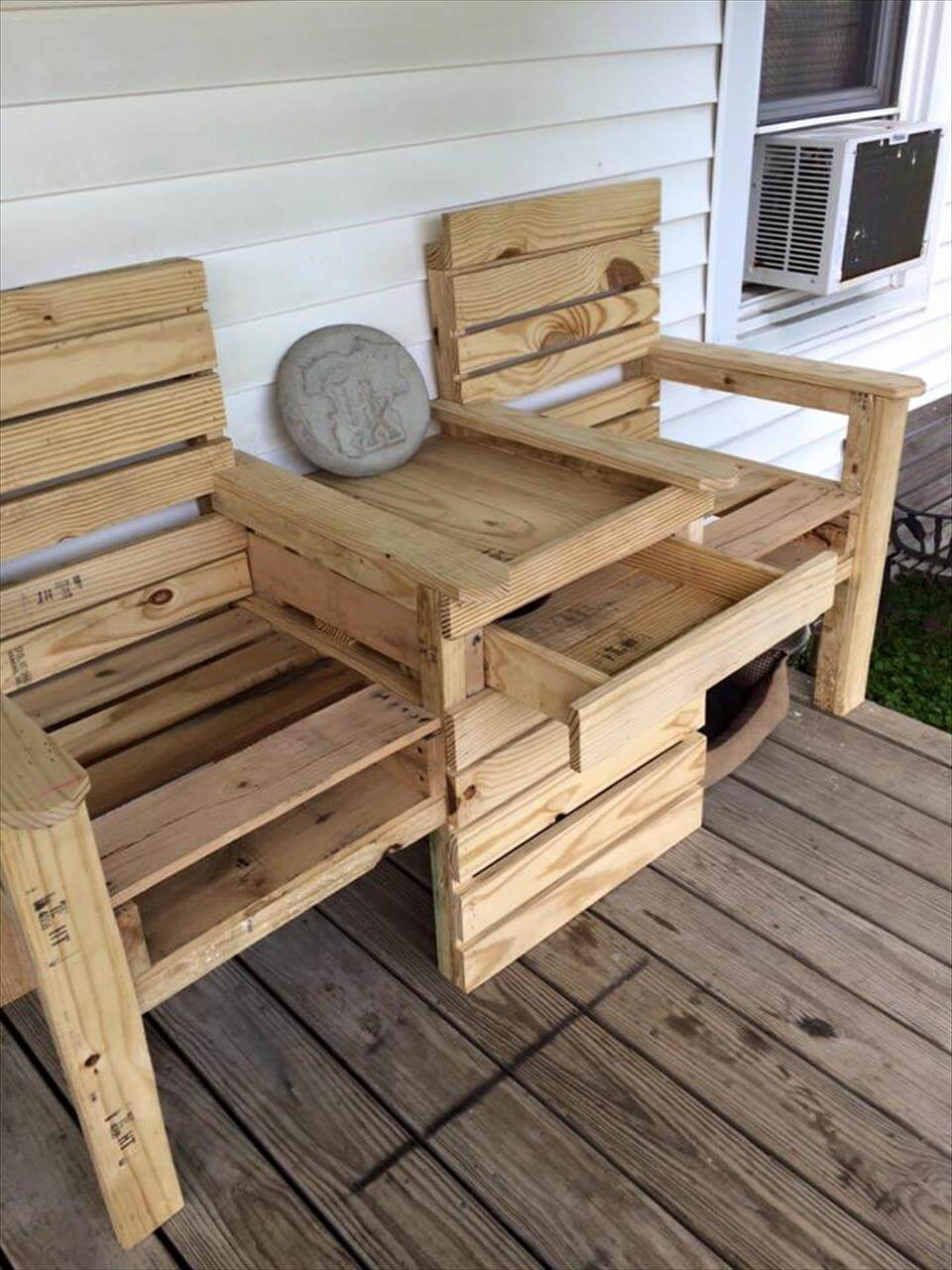 DIY Pallet Double Chair Bench on Pallet Design  id=12794