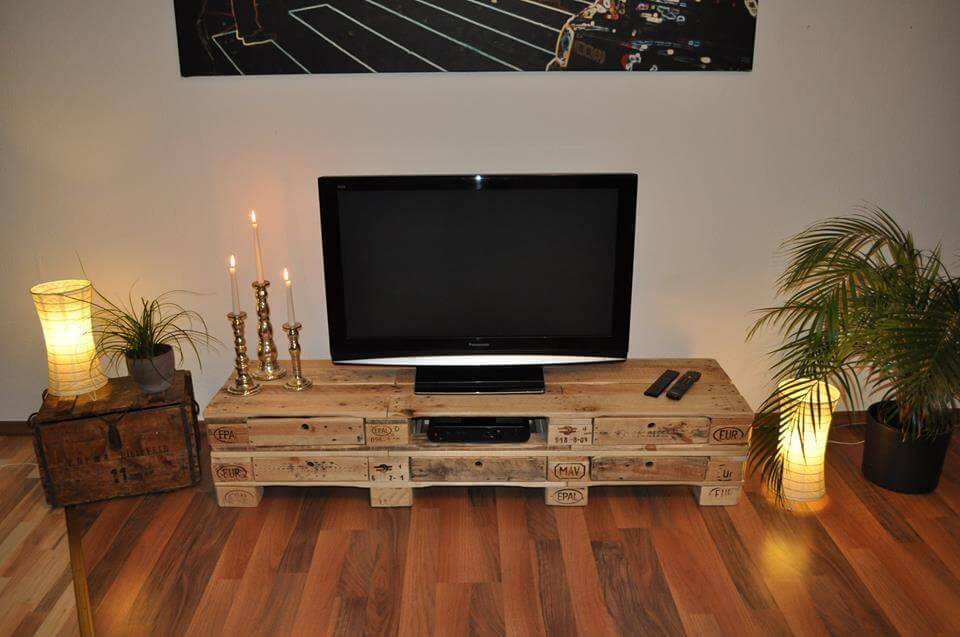 handcrafted pallet lowboard and media stand