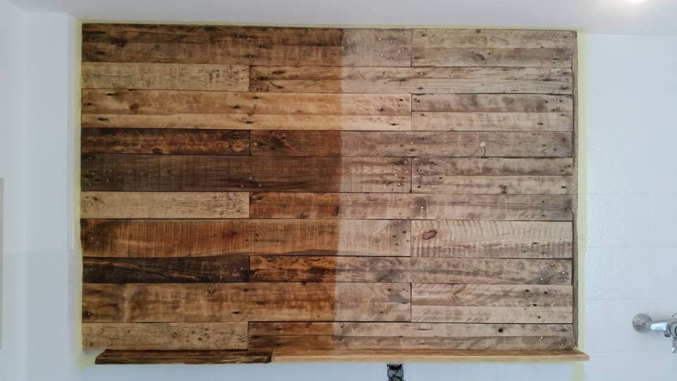 Wall Art With Wood Pallets : Pallet bathroom wall with mirror and shelf pallets