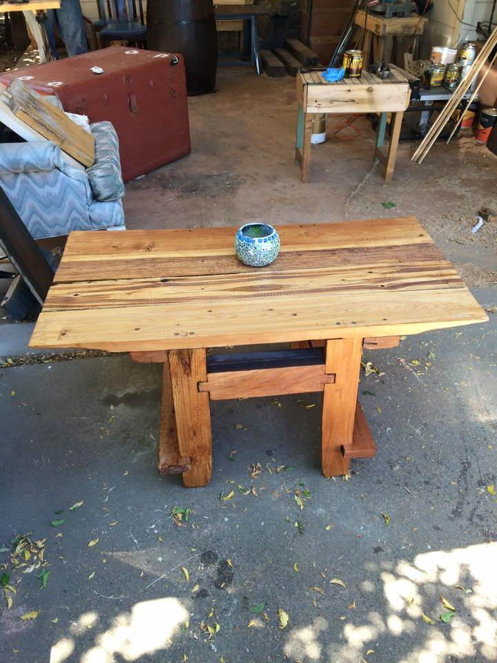 handcrafted wooden pallet coffee table