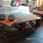 Pallet Wood Coffee Table – Glass Top