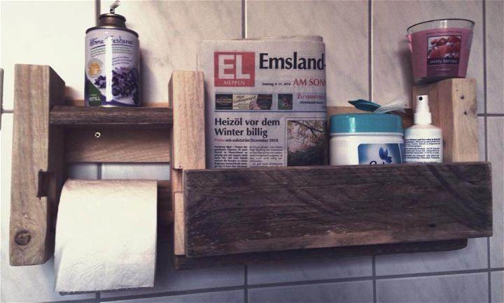Pallet Bathroom Shelf With Toilet Paper Holder 99 Pallets