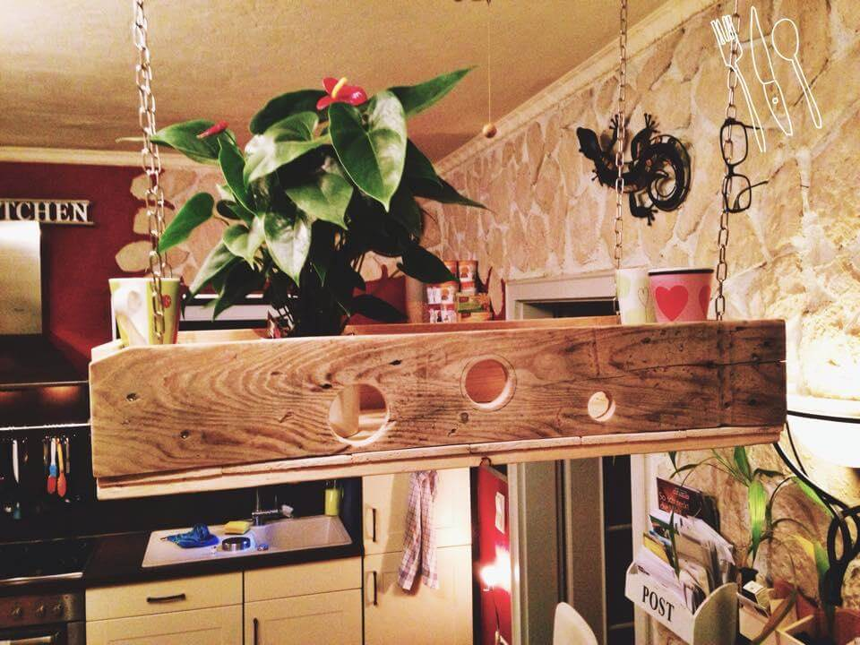 rustic yet sturdy pallet ceiling planter or mug rack