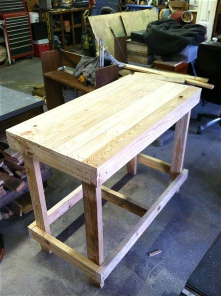 Re-purposed pallet multifunctionl table