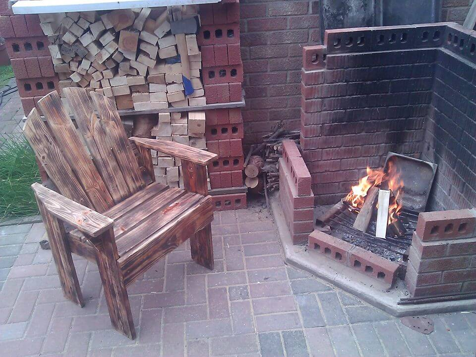 recycled pallet scorched armchair