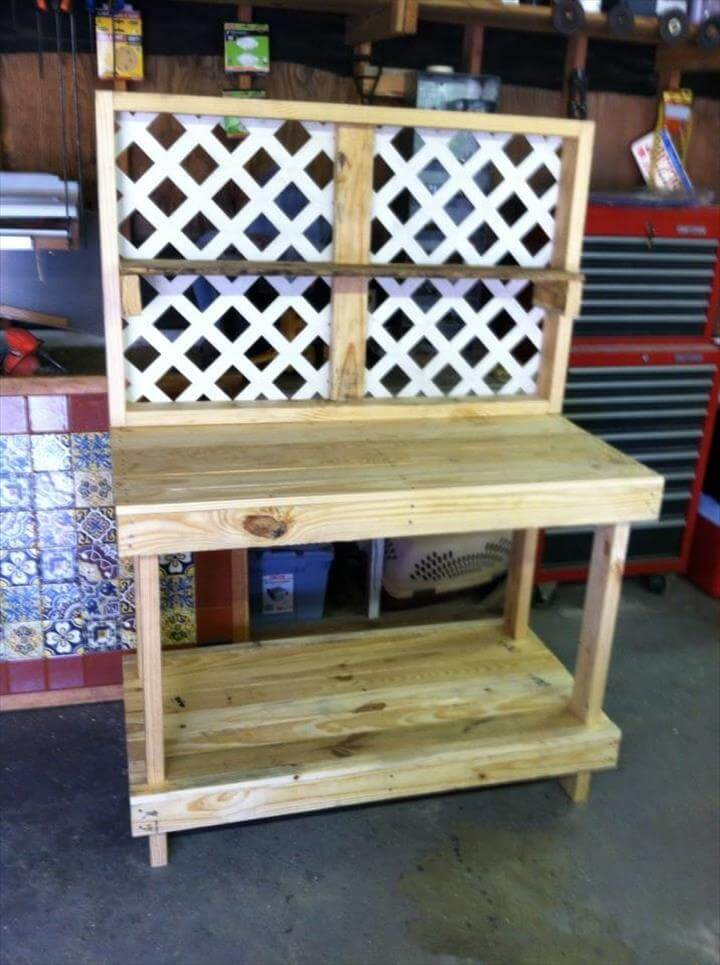 Reclaimed pallet potting table