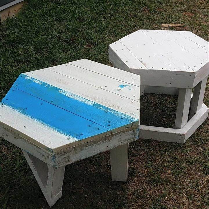 recycled pallet hexagonal stools