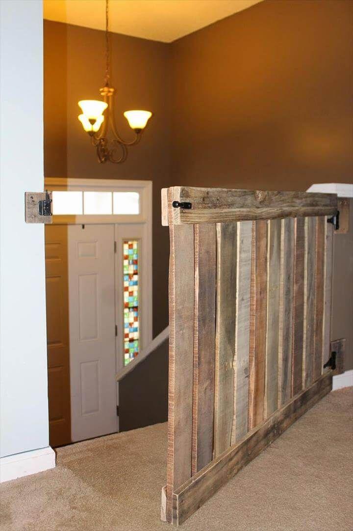 handmade wood pallet stairway baby gate