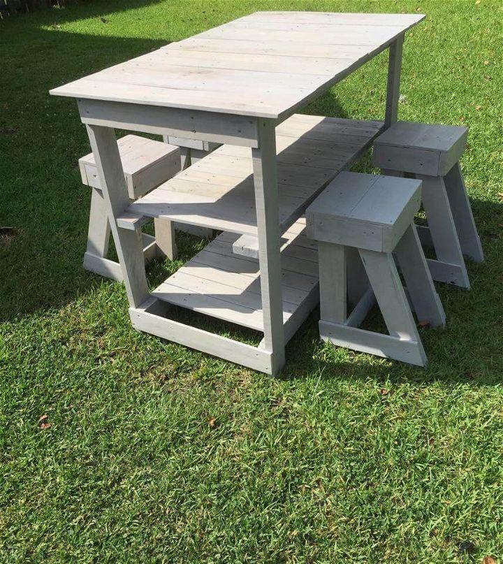 Kitchen Set Pallet: Pallet Island Table - Stools – Kitchen Set