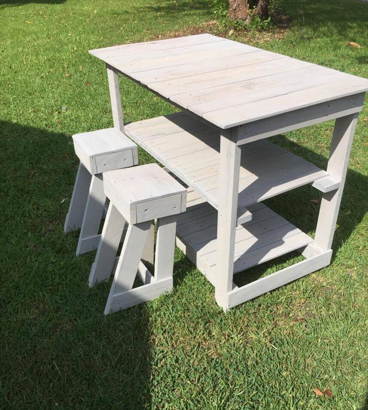 Pallet Kitchen Furniture Pallet Island Table Stools Kitchen Set 99 Pallets