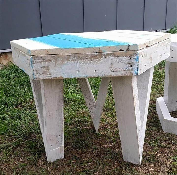 Chic White Pallet Stool Ideas   99 Pallets