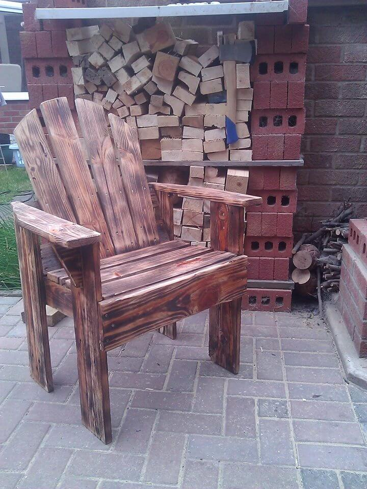 handmade pallet scorched armchair