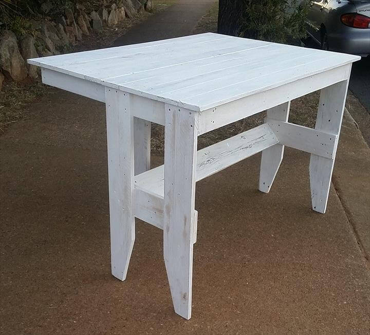 wooden pallet chic white table with edged top