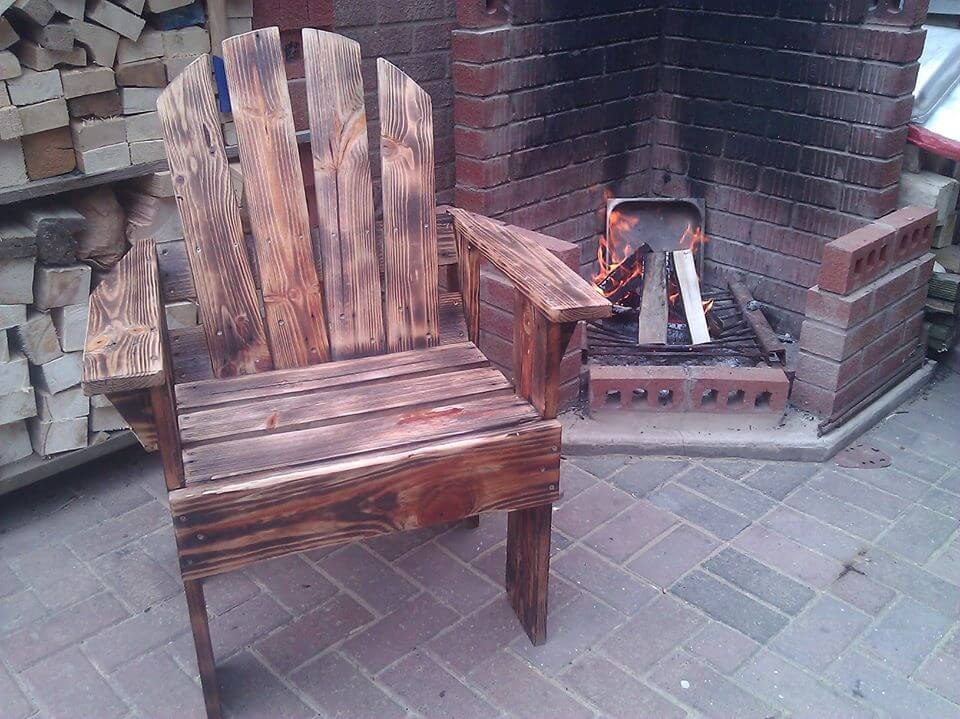 wooden pallet scorched outdoor armchair