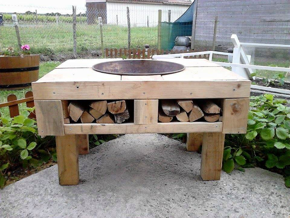 recycled pallet fir-pit table with storage