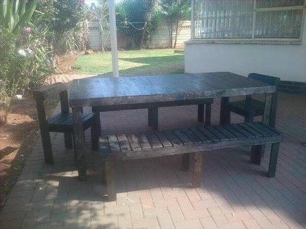 wooden pallet outdoor dinging set - DIY Pallet Outdoor Dining Set 99 Pallets