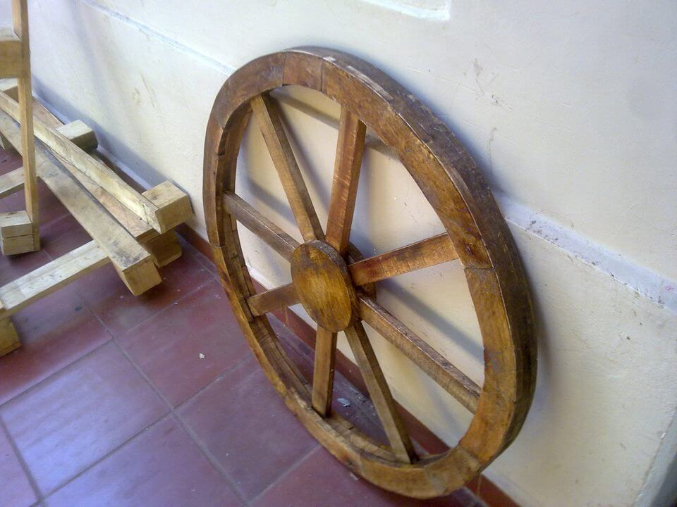 wooden cart wheel
