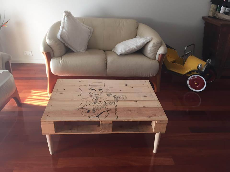 handmade wooden pallet coffee table with pop start sketch