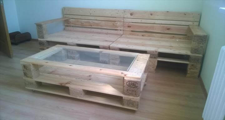 DIY Pallet Sofa And Coffee Table 99 Pallets
